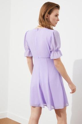 TRENDYOLMİLLA Lila Fırfır Detaylı Şifon Elbise TPRSS21EL0889 4