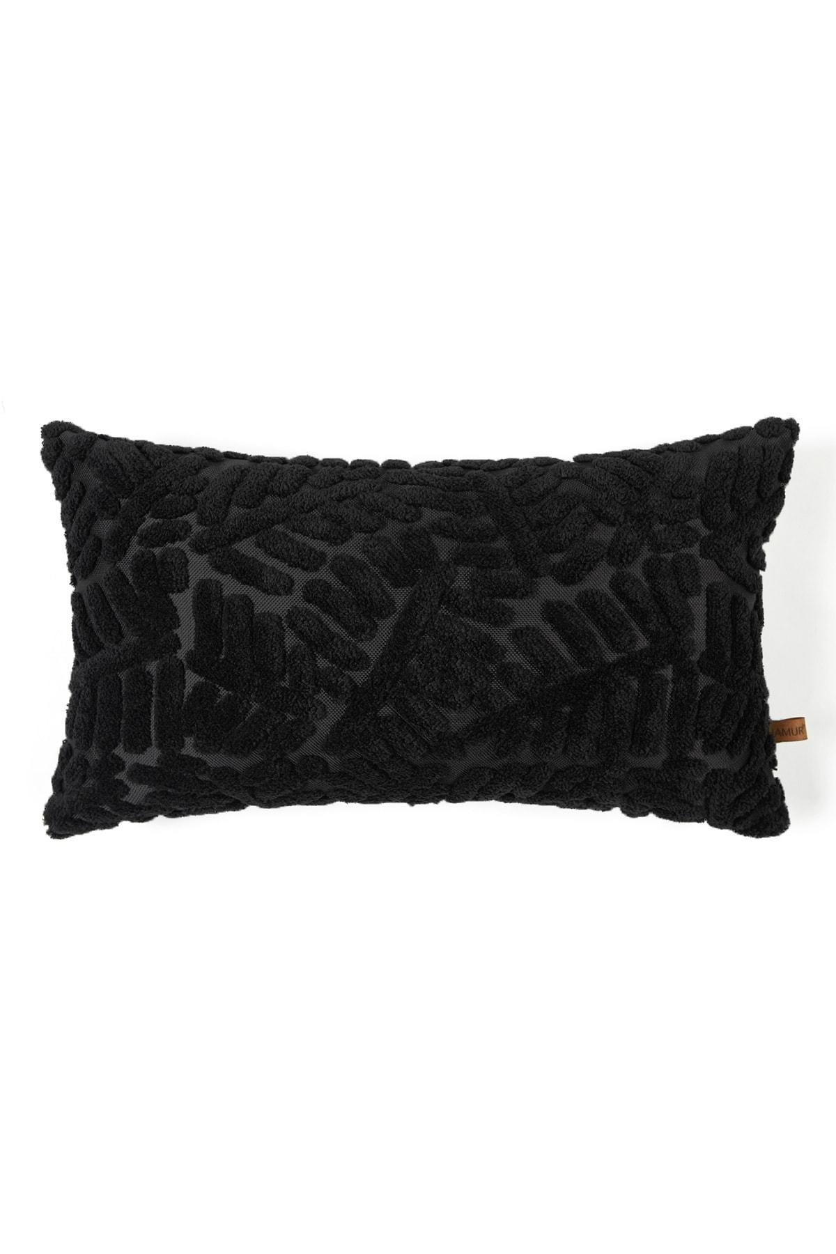 Bohem Özel Tasarım Punch Panç Desen Dikdörtgen Dekoratif Kırlent Kılıfı Forest Siyah