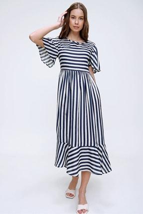 Trend Alaçatı Stili Kadın Ekru Çizgili Etek Ucu Volanlı Dokuma Elbise ALC-X6051 1