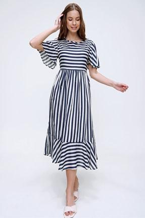 Trend Alaçatı Stili Kadın Ekru Çizgili Etek Ucu Volanlı Dokuma Elbise ALC-X6051 2