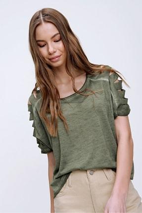 Trend Alaçatı Stili Kadın Haki Kolları Lazer Kesimli Yıkamalı T-Shirt MDA-1122 2