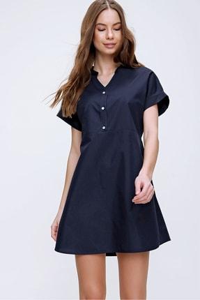 Trend Alaçatı Stili Kadın Lacivert Hakim Yaka Basic Dokuma Elbise ALC-X6053 1