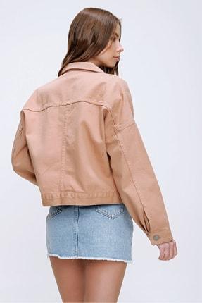 Trend Alaçatı Stili Kadın Açık Bej Crop Denim Ceket ALC-X3631-RV 3