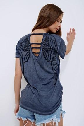 Trend Alaçatı Stili Kadın Lacivert Lazer Kesimli Yağ Yıkamalı T-Shirt MDA-1117 2