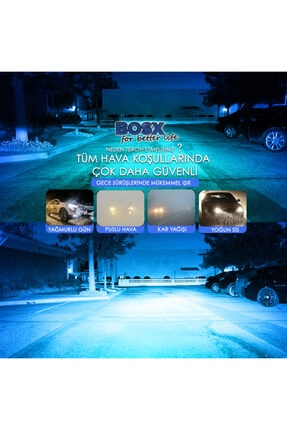 C9 Bosx Iceblue Buz Mavi Led Xenon Far Ampulü 4400lm 10000k H4 1