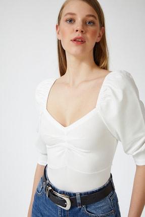 Happiness İst. Kadın Beyaz Balon Kollu V Yaka Bluz ZV00112 0