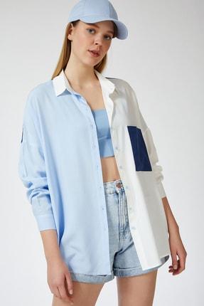 Happiness İst. Kadın Mavi Blok Renkli Oversize Viskon Gömlek DD00843 3