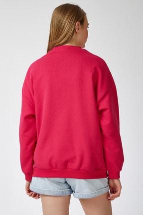 Happiness İst. Kadın Nar Çiçeği Baskılı Polarlı Sweatshirt HF00169 3