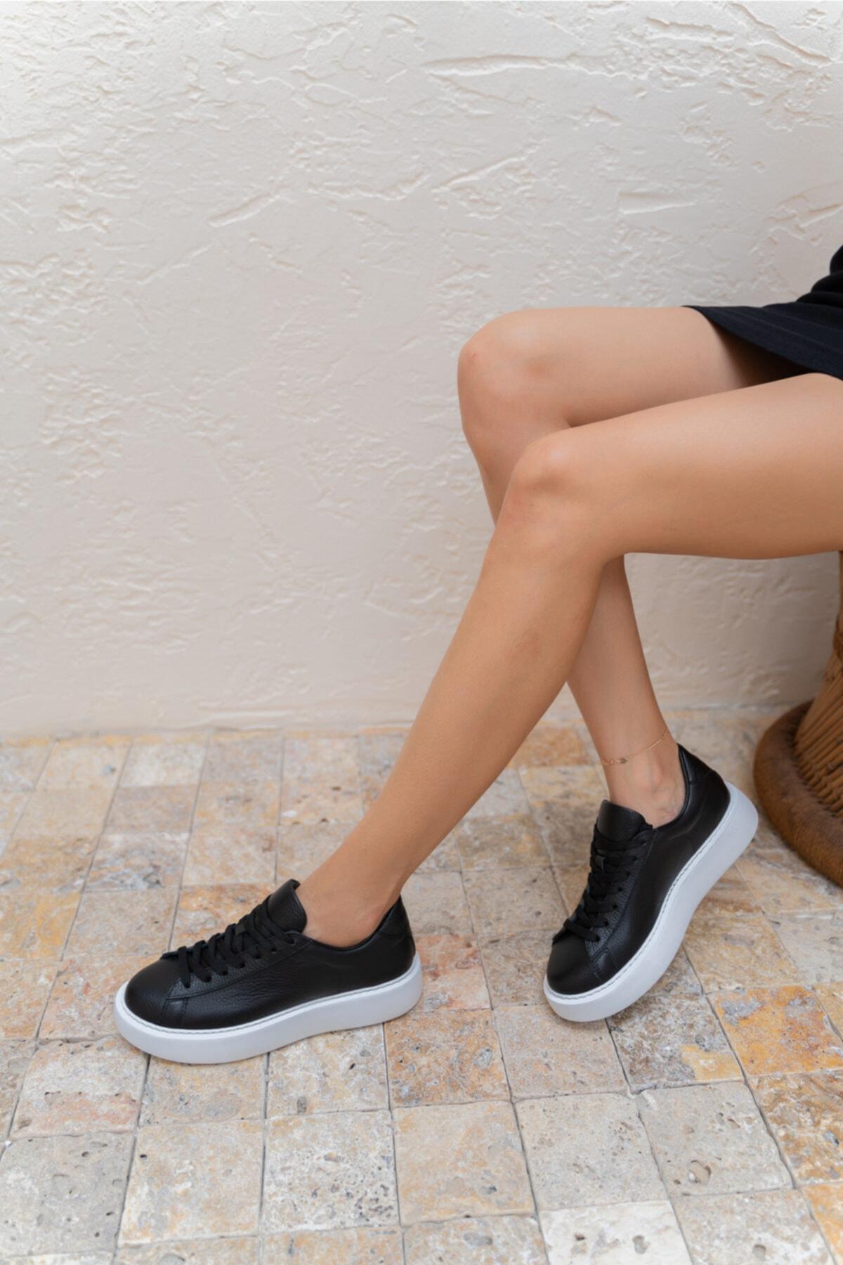 Angelo Kadın Siyah Gercek Deri Eva Tabanli Sneakers