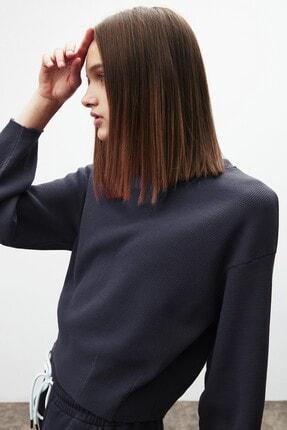 GRIMELANGE LIV Kadın Lacivert Yuvarlak Yaka Düşük Omuz Sweatshirt 1
