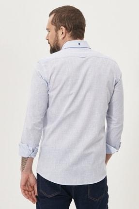 Altınyıldız Classics Erkek Mavi Tailored Slim Fit Dar Kesim Düğmeli Yaka %100 Koton Gömlek 4