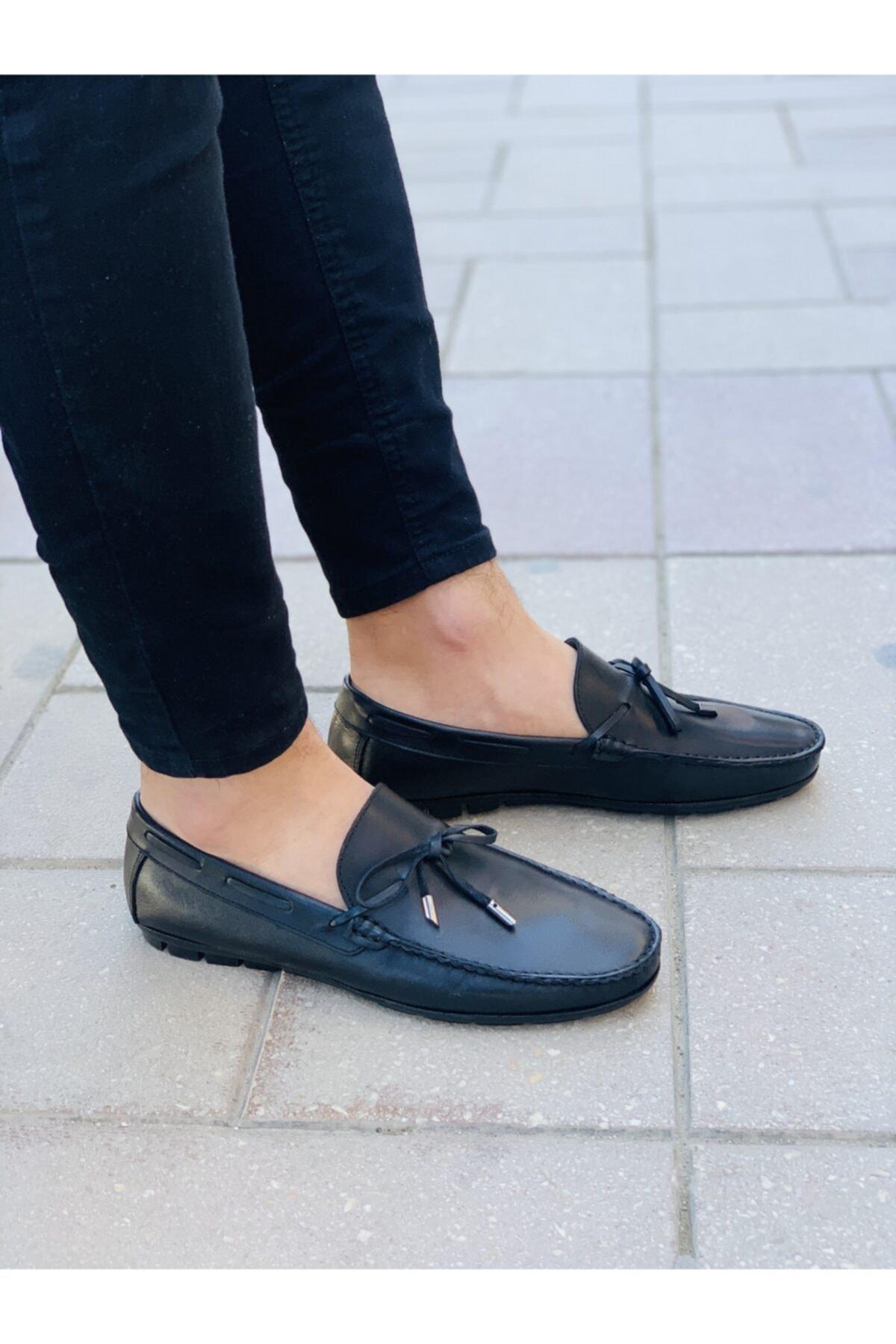 Erkek Siyah Hakiki Deri Ayakkabı 00778