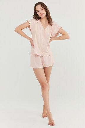Penti Kadın Somon Gorgeous Gömlek Şort Takımı 3