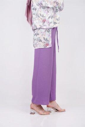 Moda Bu Huban Moda Kadın Lila Beli Lastikli Bol Paça Salaş Yazlık Pantolon Aerobin-865829 1