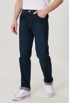 Wrangler Texas Slim Erkek Koyu Mavi Slim Normal Bel Dar Paça Esnek Jean Pantolon 2