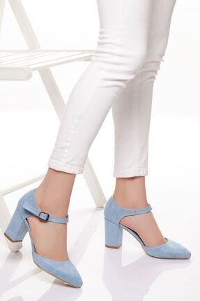 derithy Kadın Mavi Süet Klasik Topuklu Ayakkabı 2