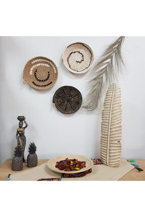 Limenis Afrika Etnik Üçlü Hasır Tabak Seti Bohem Afrikan Sepeti Duvar Dekoru 0