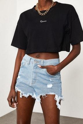 Xena Kadın Siyah Queen Baskılı Crop T-Shirt 1KZK1-11510-02 1