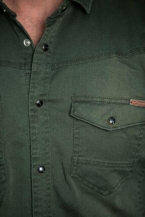 BAYEFENDİ Haki Cepli Kot Gömlek Slim Fit 3