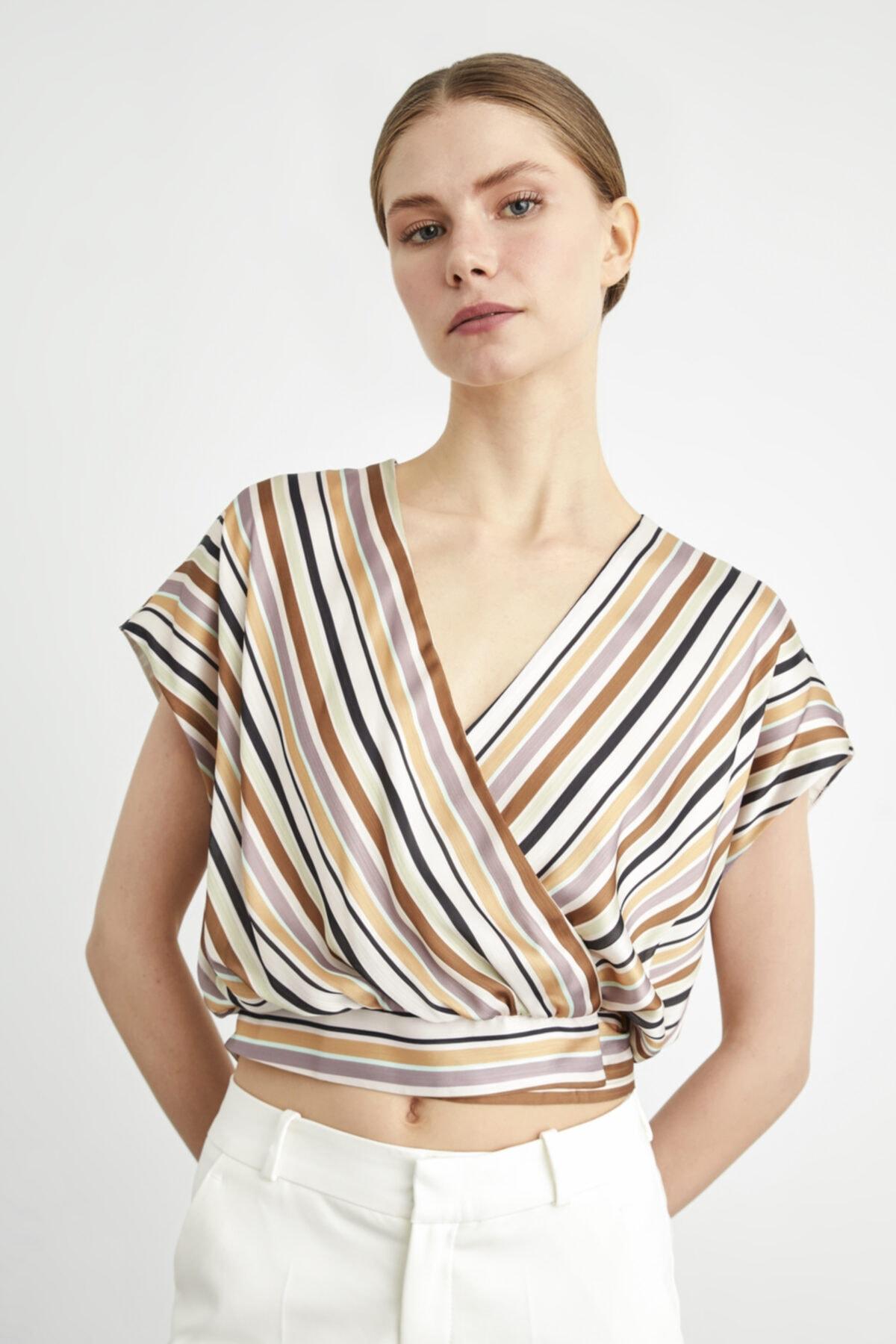 adL Kadın C.Bej Bağlamalı Kruvaze Bluz