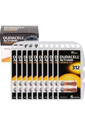 Duracell Active Air 312 Numara Işitme Cihaz Pili (10 Paket = 60 Adet) 1