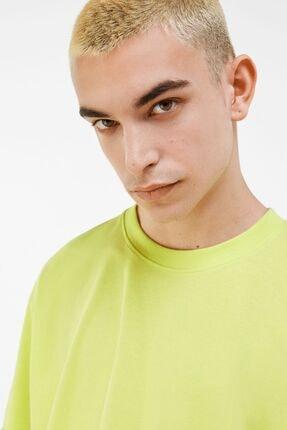Bershka Erkek Lime Long Fit T-shirt 2