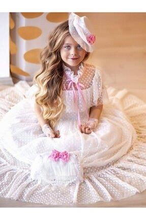 Riccotarz Kız Çocuk Beyaz Noble Beaute Şapkalı Elbise 2