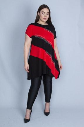 Şans Kadın Kırmızı Renk Kombinli Taş Detaylı Tunik 65N23129 1