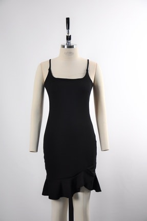 tknfashion Esnek Krep Kumaş Ince Askılı Etek Ucu Volan Detaylı Siyah Abiye Elbise 3