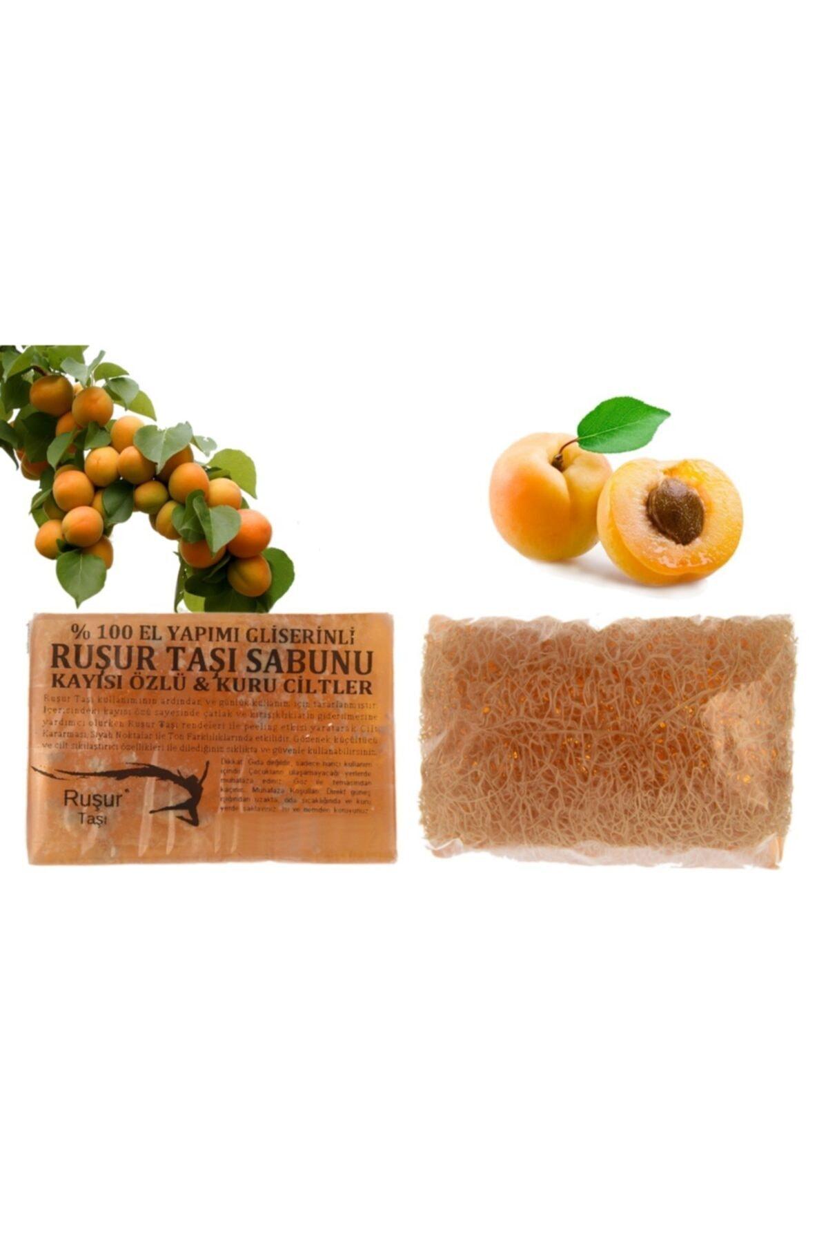 Ruşur Taşı Sabunu Kayısı Özlü Lifli %100 El Yapımı