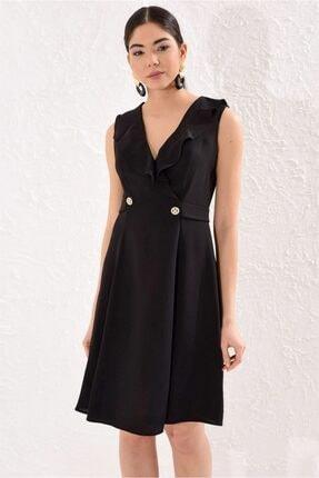 Siyah Metal Düğmeli Volan Elbise ST050S4093401