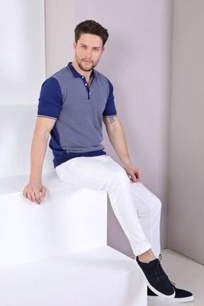 Ferraro Erkek Lacivert Polo Yaka Düğmeli Pamuk Triko T-Shirt 1