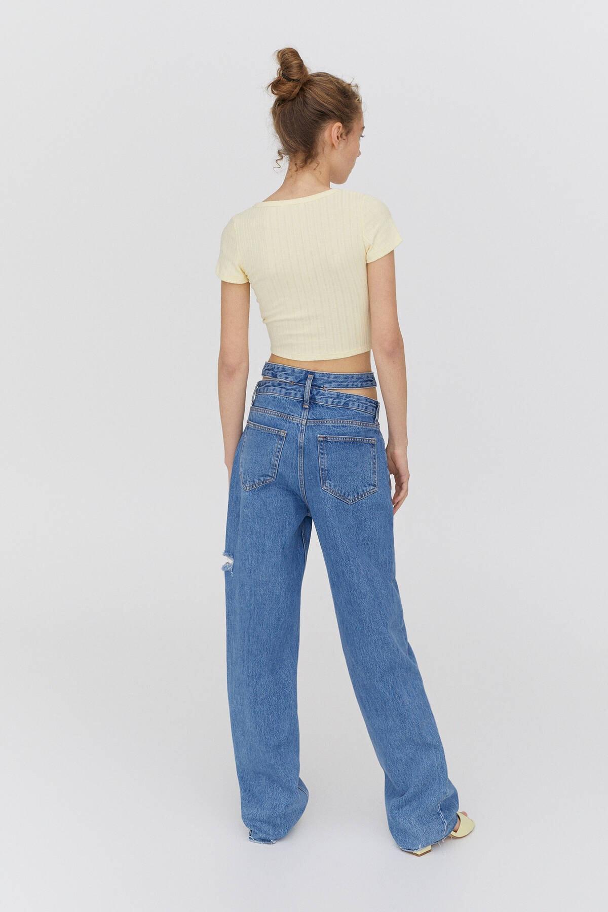 Pull & Bear Kadın Sarı Açıklık Detaylı Yakalı T-Shirt 2