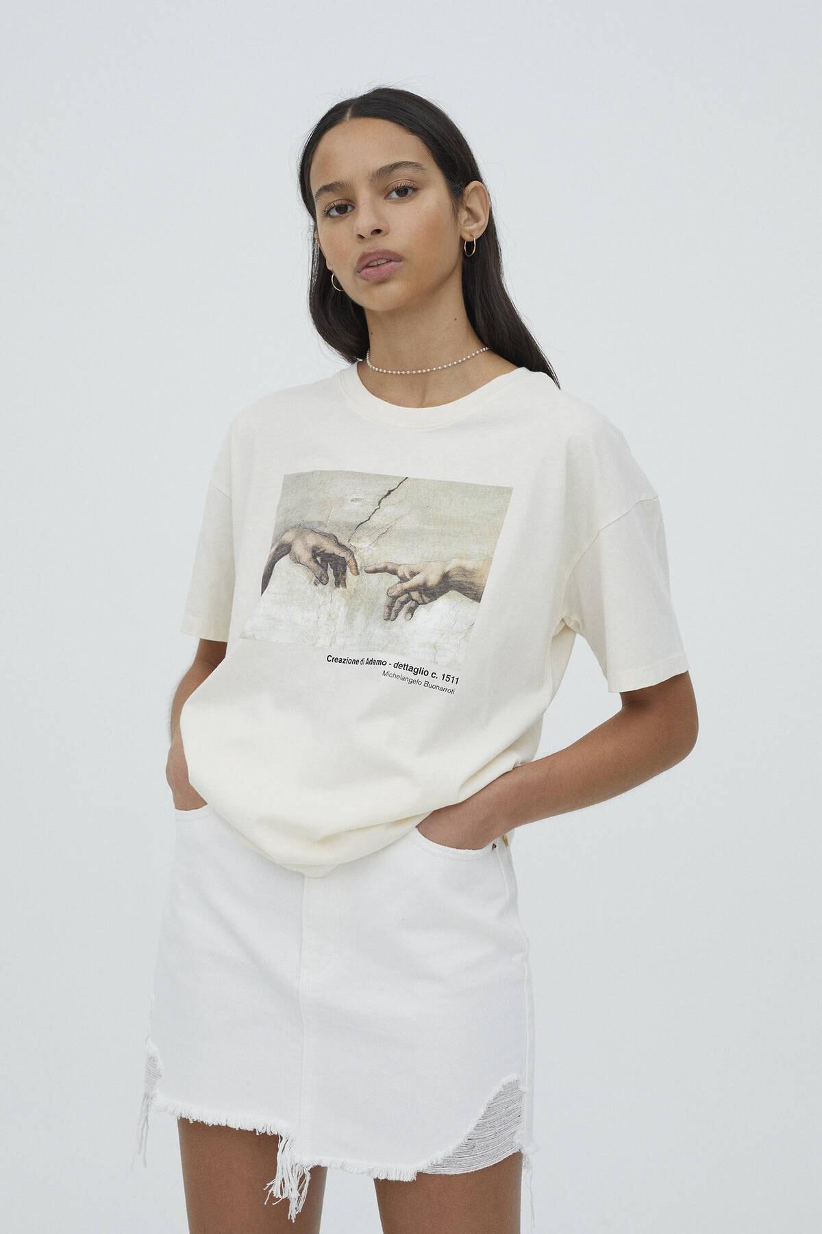 Pull & Bear Kadın Ekru Michelangelo Sistina Şapeli Görselli T-shirt 0