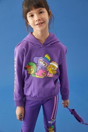 Defacto Kız Çocuk Mor Kral Şakir Lisanslı Kapüşonlu Sweatshirt 1