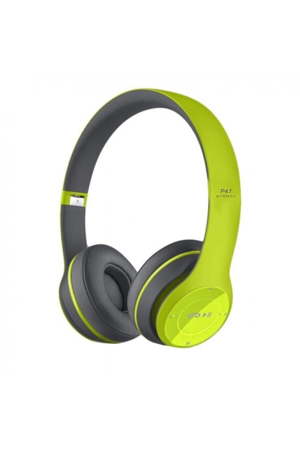Yeşil P47 Bluetooth Kablosuz Kulak Üstü Kulaklık