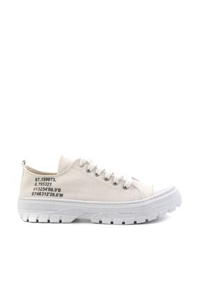 Bambi Bej Keten Kadın Sneaker K01530110518 1