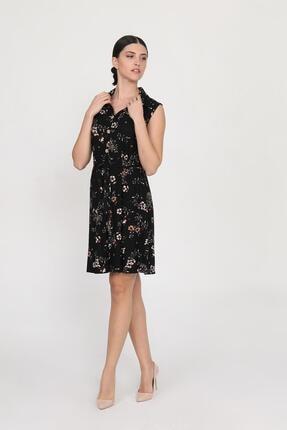 Ceylen Kadın Siyah Önden Düğmeli Desenli Elbise 0