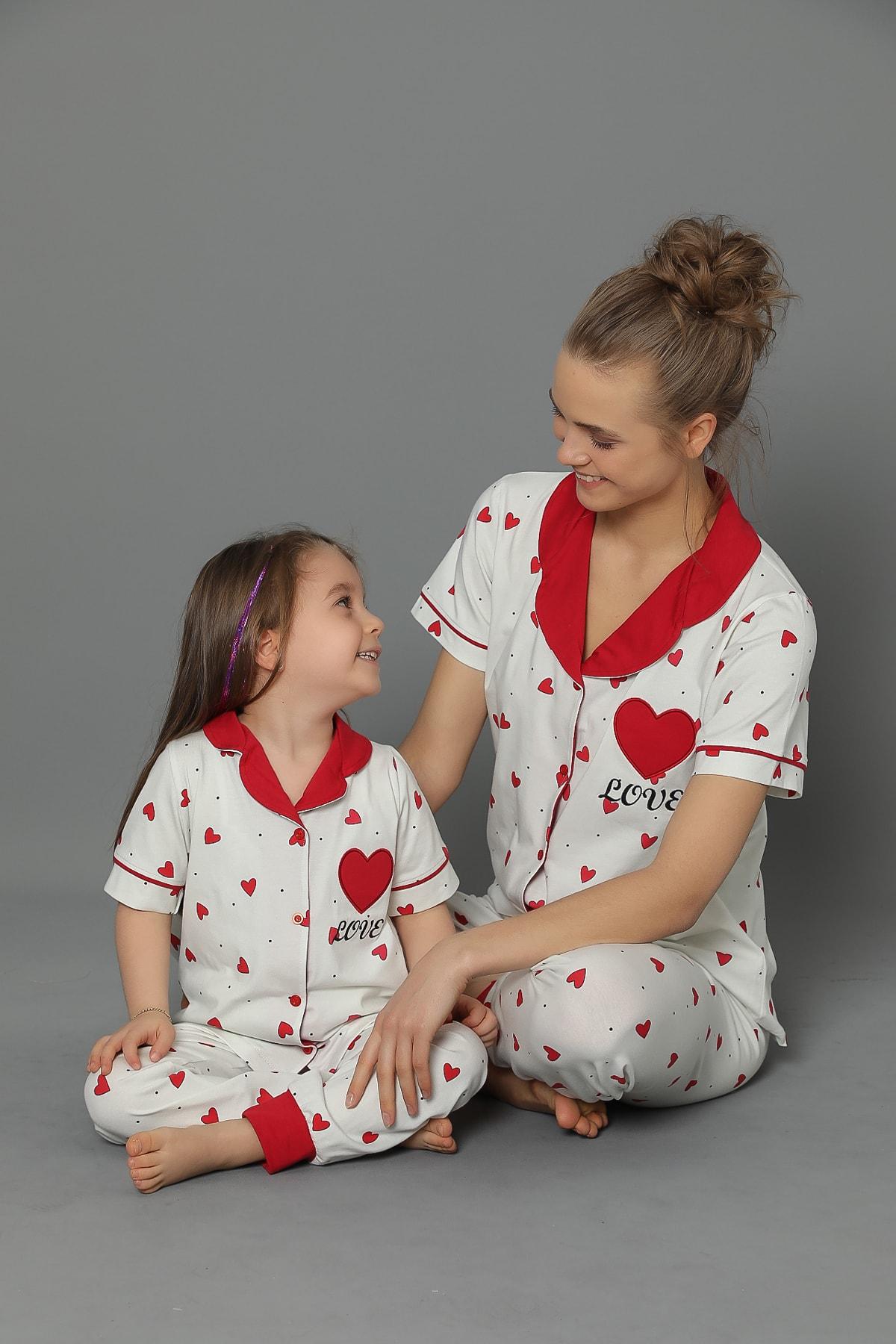 Anne Kız Kombinleri Kalp Desenli'' (TEK ÜRÜN FİYATIDIR KOMBİN İÇİN TEK TEK SEPETE EKLEYİNİZ)