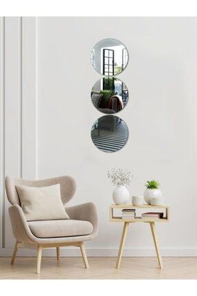 Decovetro Ayna | 3 Parça Yuvarlak Dekoratif Duvar Aynası 0