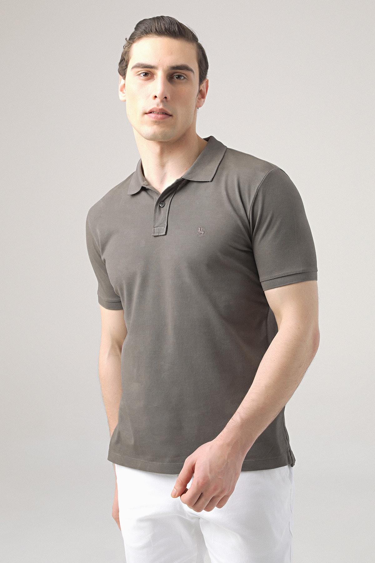 Regular Fit Antrasit Pike Dokulu T-shirt