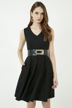 Vis a Vis Kadın Siyah Kolsuz Kloş Elbise 2