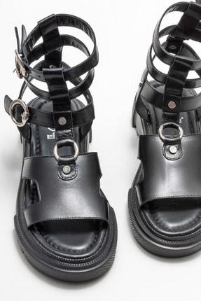 Elle Kadın Siyah Deri Spor Sandalet 2
