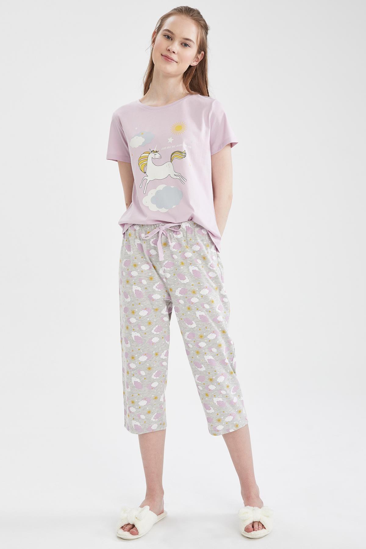 Kadın Gri Relax Fit Unicorn Baskılı Kısa Kol Pijama Takımı