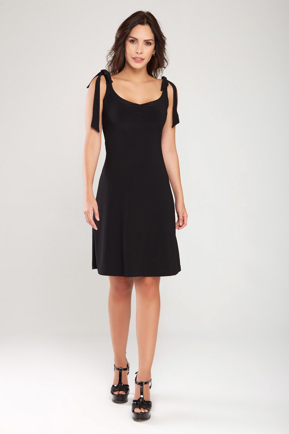 Kadın Siyah Omuzdan Bağlamalı Elbise 18L6358
