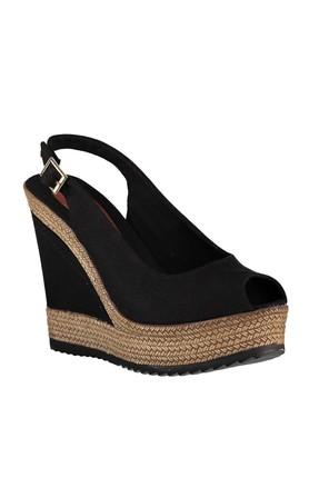Fox Shoes Siyah Kadın Dolgu Topuklu Ayakkabı 9674070805 3