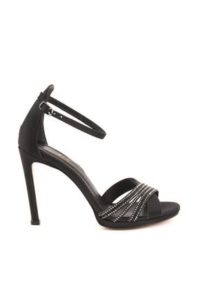 Picture of Hakiki Deri Sıyah Saten Kadın Topuklu  Ayakkabı 191TCK757 0427
