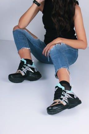 Siyah Altın Kadın Spor Ayakkabı Y2021