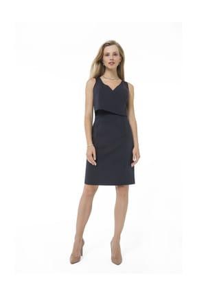 Accouchee Lacivert Kolay Emzirme Özellikli Şık Elbise 2