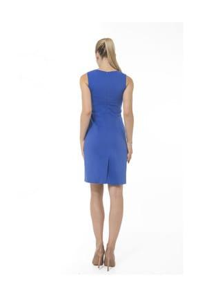 Accouchee Saks Mavisi Emzirme Özellikli Şık Elbise 3